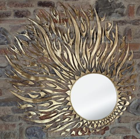specchio parete forma circolare con effetto infuocato